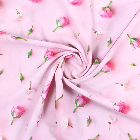 Pink White Flower Georgette Silk Fabric-15090